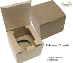 P/ 1 Cupcake - Caixa de montar - Simples KRAFT