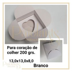 Cx. P/ Coração de Colher de 200 grs - Simples / BRANCA (Montar)