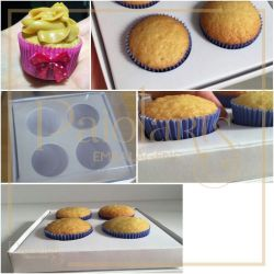 P/ 4 mini cupcakes - Simples / Branca