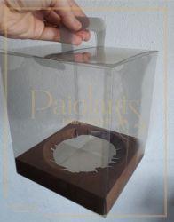 Maleta Transparente  P/  Panetone 500 grs - Berço Kraft
